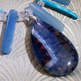 blue dragon veined agate pendant