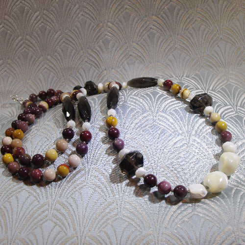 long semi-precious stone necklace, unique gemstone necklace uk