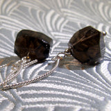 smoky quartz earrings handmade from smoky quartz nuggets