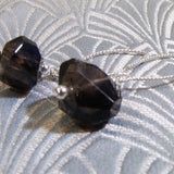 smoky quartz semi-precious stone jewellery earrings, unique handmade jewellery