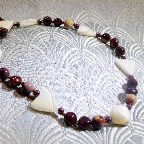 handmade semi-precious mookaite necklace, handmade gemstone necklace uk