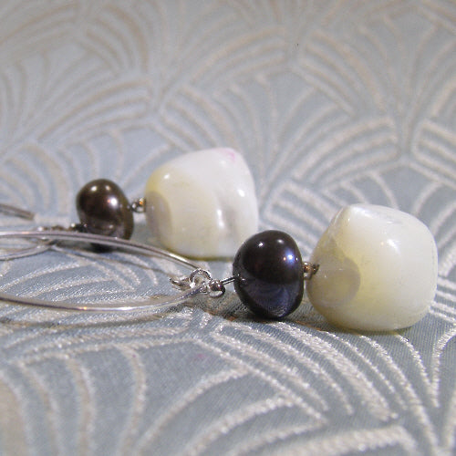 long drop earrings, handmade long dangle pearl earrings uk