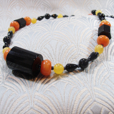 Black Orange Handmade Necklace UK