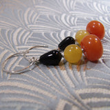 unique black orange gemstone earrings handmade uk