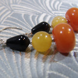 black orange semi-precious gemstone earrings uk
