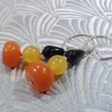 unique handmade gemstone earring black orange