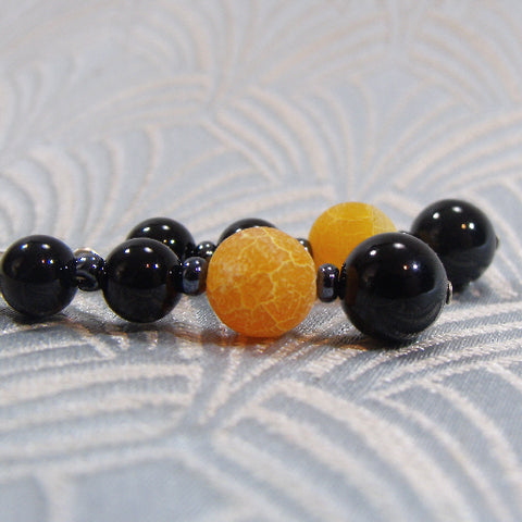 Orange, Black Gemstone Earrings UK