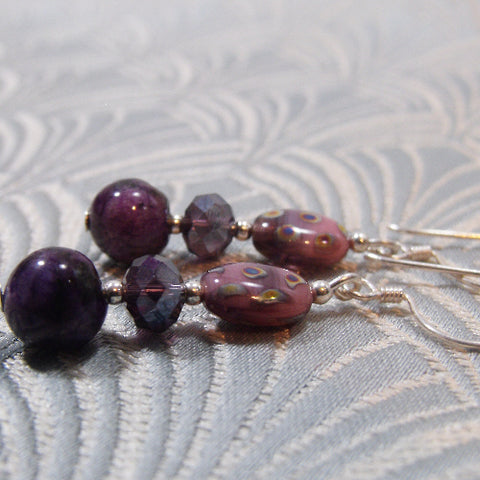 Lilac Handmade Gemstone Earrings