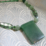 green aventurine necklace with a gemstone pendant