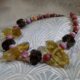 semi-precious smoky quartz gemstone necklace