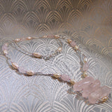 rose quartz gemstone pendant necklace