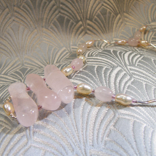 rose quartz pendant necklace, unique gemstone necklace, unique rose quartz jewellery uk