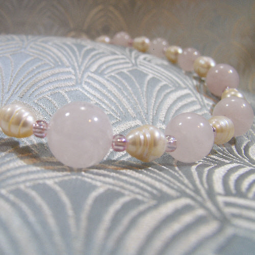 rose quartz necklace, semi-precious gemstone necklace, unique rose quartz jewellery