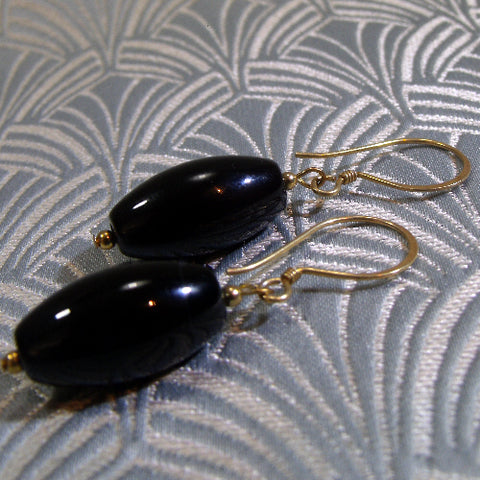 Long Black Semi-Precious Earrings