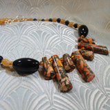 orange jasper necklace, unique semi-precious necklace, handmade jasper jewellery