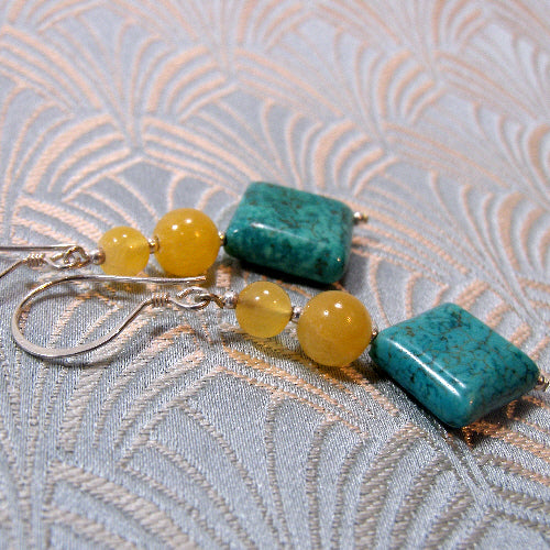 long dangle turquoise earrings, unique earrings, handmade turquoise jewellery