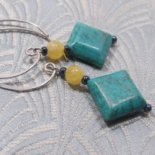 long turquoise earrings, long semi-precious dangle earrings, handmade turquoise jewellery