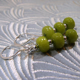 jade and silver handmade green earrings