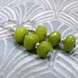green semi-precious jade earrings