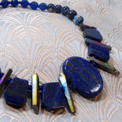 lapis lazuli gemstone necklace, unique semi-precious necklace, lapis lazuli necklace