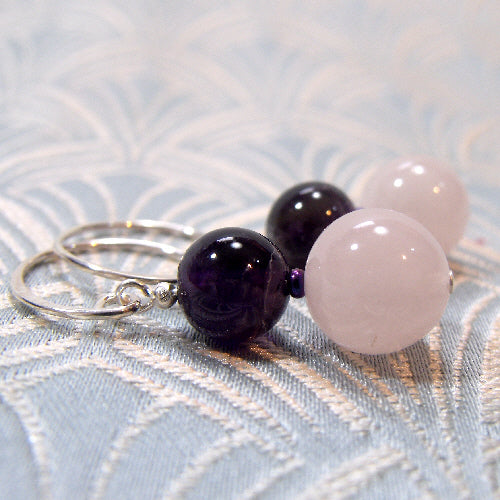 rose quartz jewellery, handmade gemstone earrings, amethyst jewellery