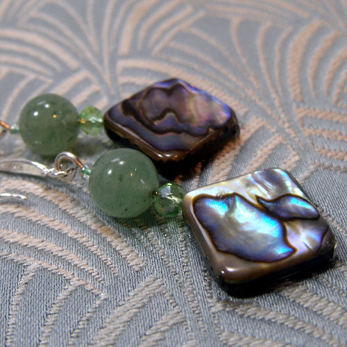 green aventurine gemstone earrings, unique handmade earrings uk