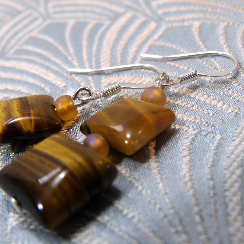 unique tigers eye earrings, semi-precious gemstone earrings, tigers eye jewellery uk