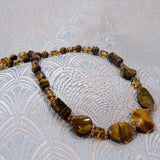 tigers eye necklace set with amber beads