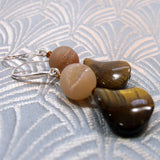 druzy quartz and tigers eye earring design