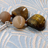 gemstone tigers eye earrings, handmade tigers eye jewellery, semi-precious earrings