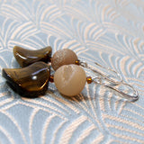 unique handmade tigers eye semi-precious earrings