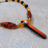orange semi-precious stone necklace uk