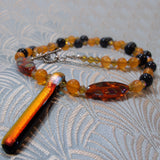 unique design gemstone necklace orange beads