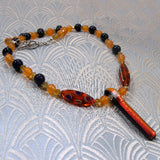 gemstone necklace handmade orange semi-precious stones