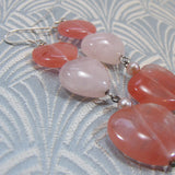long drop heart gemstone bead earrings