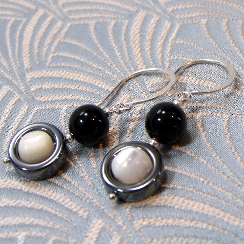 hematite earrings uk, semi-precious stone earring jewellery