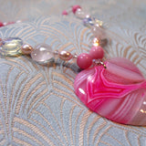 pink agate heart pendant necklace uk
