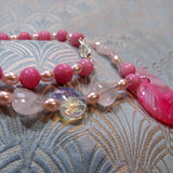 detail for pink agate pendant necklace