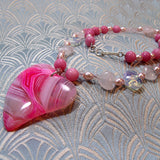 pink agate gemstone pendant necklace, unique gemstone jewellery
