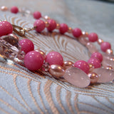 pink agate pendant necklace detail