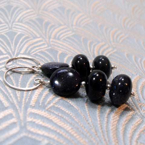 Blue Goldstone Gemstone Earrings