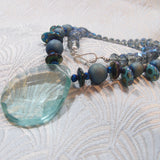 handmade aqua quartz gemstone necklace