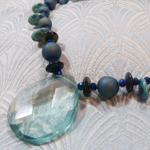aqua quartz necklace uk, unique handmade gemstone necklace, semi-precious stone necklace