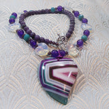 agate gemstone pendant necklace with heart shaped pendant