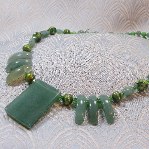 green aventurine necklace, unique semi-precious gemstone jewellery necklace uk