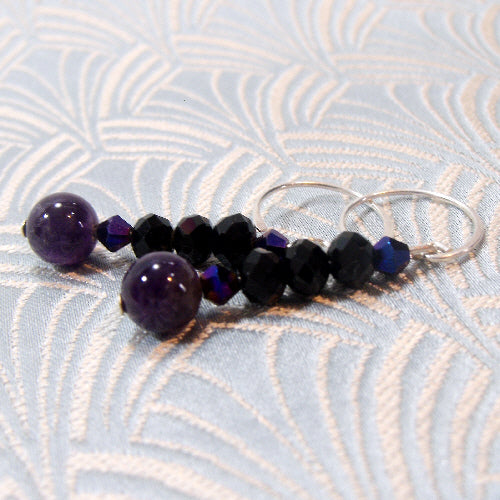 crystal amethyst earrings, unique handmade gemstone earring jewellery uk