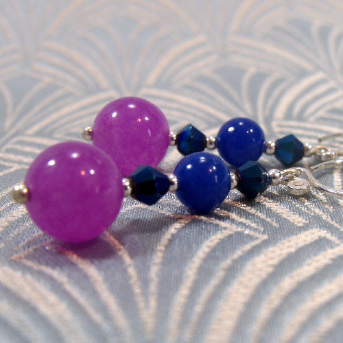 handmade gemstone jewellery, purple blue semi-precious stone earring jewellery uk