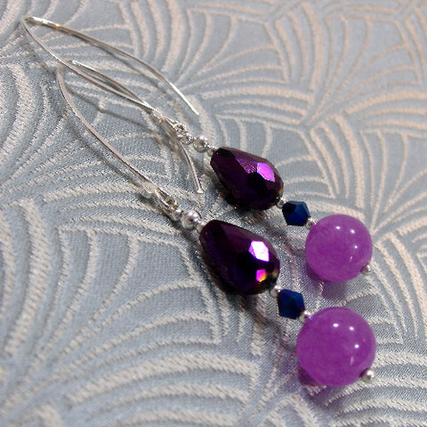 Long Drop Gemstone Earrings UK