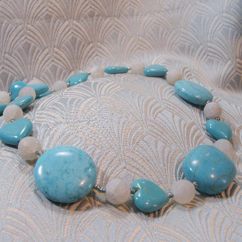 long turquoise necklace, long gemstone necklace jewellery, handmade turquoise jewellery