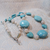 unique handmade turquoise semi-precious long necklace